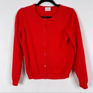Hanna Andersson Cotton Cardigan Sweater Red 160